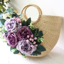 $enCountryForm.capitalKeyWord Australia - Retro Handmade Flowers Beach Straw Bags Garden Holiday Portable Braided Bags Japan and South Korea Rattan Straw Caps Beach Hat #112972