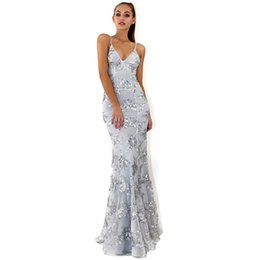 efc8a78cf6d8 Women Sequins Party Long Maxi Dress Open Back V-neck Sexy Prom Wedding Long  Dress Ladies Formal Gown Backless Tulle