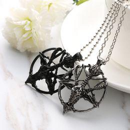 Discount god necklaces - Fashion Retro Pentagram Pan God Skull Goat Head Pendant Chain Necklace Unisex Luck Alloy Retro Vintage Jewelry