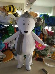 $enCountryForm.capitalKeyWord Australia - Polar Bear Mascot Costumes Animated theme Crown White bear Cospaly Cartoon mascot Character Halloween Carnival party Costume