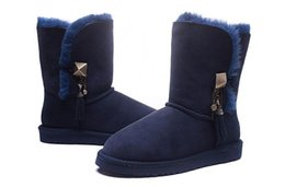Chinese  HOT 2019 new brand Classic Genuine leather snow boots 100% Wool Women Boots Warm winter shoes Australia girl womens Metal pendant Navy blue manufacturers