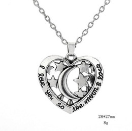 Pendant Backing Australia - B22 Hollow Heart Pendant Moon And Star Necklace Engraved Letter I Love You To The Moon And Back