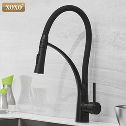 single hole pull down kitchen faucet Canada - XOXO LED Kitchen Faucet Hot and Cold Pull Down Chrome Black Mixer Tap Single Handle Torneira Cozinha Outlet Mixer Tap 83013 T200424