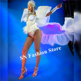 Ds club online shopping - M30 Christmas led costumes luminous glowing bra catwalk show white ds dress dj wears dance outfits clothe cloak head piece club outfits ktv