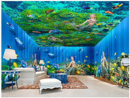 housing homes Australia - 3d room wallpaer custom mural photo Sea World Mermaid Dolphin Seaweed house background home decor 3d wall murals wallpaper for walls 3 d