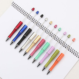 Wholesale add art online – design Cheap DIY Christmas Promotional Gifts Handmade Children Kids Toy Tools Blank add a beaded Beads Replaceable Ball Pen Beadable Pen For Play