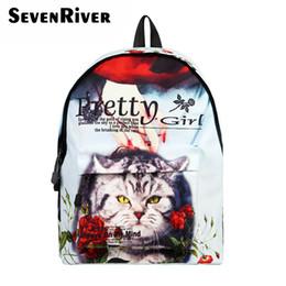fad9b702cb2 Cat Backpacks NZ - Brand Canvas Cat Printing Backpack Women School Bags for  Teenage Girls Cute