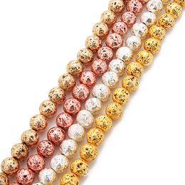 6mm 8mm Lava vulcanica perline rotonde in pietra naturale perline sparse oro argento oro rosa KC placcato oro 38 cm filo energia pietra gioielli fai da te in Offerta