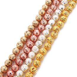 Großhandel 6mm 8mm Lava Volcanics Perlen Runde Naturstein Lose Perlen Gold Silber Rose Gold KC Vergoldet 38cm Strang Energy Stone DIY Schmuck