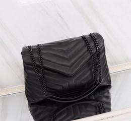 5545c7a7a Ventas calientes El más nuevo estilo V Tipo de buena calidad 31 cm Moda  casual de cuero para mujer Bolsos de marca vintage Cadenas de plata Bolsos  de hombro ...