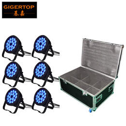 dmx lights par 64 NZ - 6IN1 Flightcase Pack 18x18W 6IN1 RGBWAP Led Par 64 Disco Dj Stage Light IP65 Waterproof for Indoor Outdoor Silent Working 6 10CH TP-P103