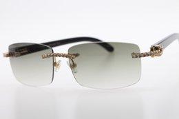Бесплатная доставка высокого класса марка горячие очки новый 3524012 алмаз без оправы черный рога буйвола солнцезащитные очки изысканные мужчины камень унисекс очки горяч на Распродаже