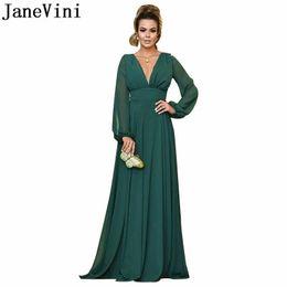 78e43b1e27d7 JaneVini arabo abiti da sera maniche lunghe impero con scollo av a-line  verde chiffon usura formale signore vestito da promenade semplice lungo  donne abito ...
