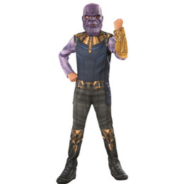 hero suits 2019 - kids boy 4 Thanos costume muscle jumpsuit Infinite glove mask halloween costumes for children hero suit wear cheap hero