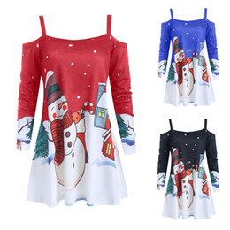 wholesale linen clothing women Australia - Christmas Womens Tunic Shirts Winter Off Shoulder Fashion Cartoon Print Blouse Korean Style Women Long Sleeve Clothes Blusas
