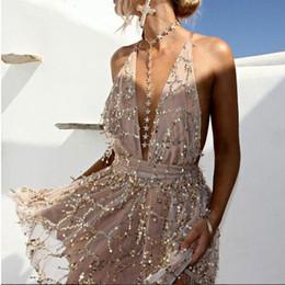 $enCountryForm.capitalKeyWord Australia - Summer Dress Fashion Sexy Club Deep V-neck Mini Dress Sleeveless A-line Suit Club Dresses Two Color S-XL Size