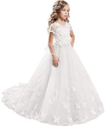$enCountryForm.capitalKeyWord Australia - Elegant Lace Applique Floor Length Flower Girl Dress Wedding Birthday Pageant Ball Gown Formal Occasion Party