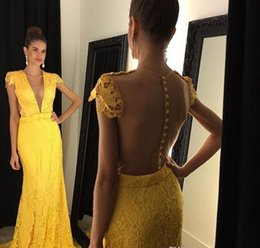 $enCountryForm.capitalKeyWord NZ - Bright Yellow Lace Cap Sleeve Prom Dresses 2019 Illusion Deep V Neck Sheer Back Covered Buttons Evening Gowns Sheath Formal Party Dresses