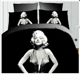 marilyn monroe queen size bedding Australia - 4pcs Retro 3d Printing Marilyn Monroe Queen Bedding Set Sheet Duvet Cover Pillowcase Twin Double Queen King Size