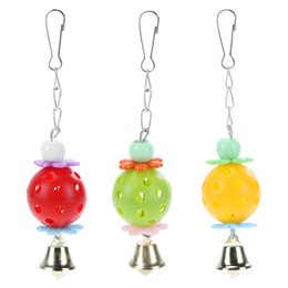 Bell Bird Toy NZ - parrot 1pc Parrot Plastic Ball Bell Toy Biting Climbing Chewing Bird Toys Swing Hanging Birdcages Decor for Cockatiel Parakeet