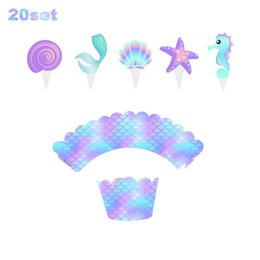 Wholesale Mermaid Cake Border Baby Shower Wedding Party Cake Topper Decorations Kids Birthday Cupcake Wrapper Decorating Supplies