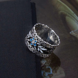 $enCountryForm.capitalKeyWord NZ - New arrival S925 pure silver ring with blue enamel hollow flower design for women and man wedding jewelry gift +box PS7622