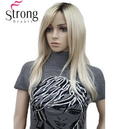 Straight Bang Ombre Australia - Long Straight Blonde with Dark Roots, Side Swept Bangs Synthetic Wig