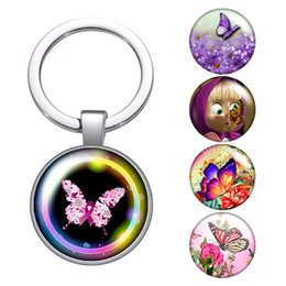 butterfly key Australia - Beauty butterfly flowers glass cabochon keychain Bag Car key chain Ring Holder Charms silver keychains for Men Women Gifts