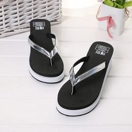 Discount thick soled canvas shoes - women slippers summer Female High-Heeled Flip-Flops Thick-Soled Sandals And Slippers Beach Shoes dames zomer 2019#BG40