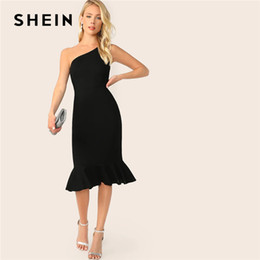 bfc9dc32f2 SHEIN Elegant Party Black One Shoulder Pep Hem Summer Bodycon Midi Dress  Women Summer 2019 Sleeveless Solid Slim Dresses