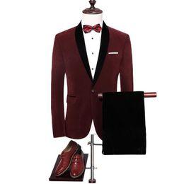 $enCountryForm.capitalKeyWord Australia - Velvet Suit Men Nice Slim Fit Wedding Suits For Men Shawl Collar High Quality Royal Blue Burgundy Tuxedo Jacket