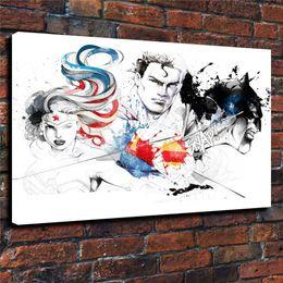 $enCountryForm.capitalKeyWord Australia - Superman Batman Wonder Woman,1 Pieces Home Decor HD Printed Modern Art Painting on Canvas (Unframed Framed)