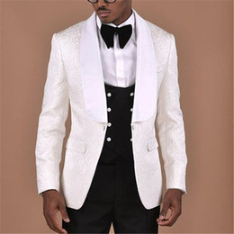 groom apparel NZ - White Pattern With Double Breasted Black Vest Men Suit 3 pieces Groom Tuxedos Groomsmen Wedding Apparel Blazer Suits For Men