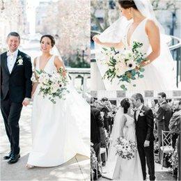 $enCountryForm.capitalKeyWord Australia - Romantic Garden Wedding Dresses uk Cheap A Line V Neck puffy Satin Sleeveless Sweep Train Bridal Gown Plus Size Country robe de mariée