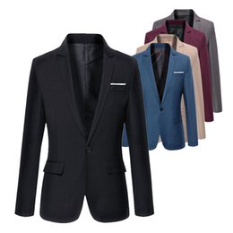 korean jackets sale UK - Hot sale Mens Korean slim fit arrival cotton blazer Suit Jacket black blue plus size s to 4XL Male blazers Mens coat Wedding