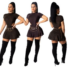 Wholesale woman piece skirt set for sale - Group buy Women Set Short Sleeve Summer Fashion Tracksuit Silk Bodysuits Skirts Suit Two Piece Set Night Club Party Fall Outfits