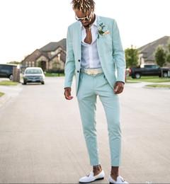 Plaid Brown Mens Suit Jacket Australia - Mint Green Mens Suits Slim Fit Two Pieces Beach Groomsmen Wedding Tuxedos For Men Peaked Lapel Formal Prom Suit (Jacket+Pants)