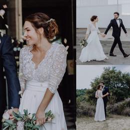 $enCountryForm.capitalKeyWord NZ - Cheap Lace Chiffon Country Weding Dresses A Line Sexy Backless Bohemian Beach Boho Bridal Gowns 3 4 Long Sleeves Bride Dress Plus Size