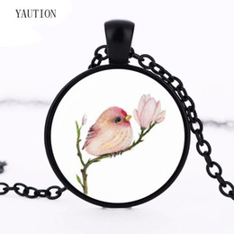 $enCountryForm.capitalKeyWord UK - Vintage Baby Bird and Flowers Necklace Animal Jewelry Glass Cabochon Photo Pendant Chain Statement Necklace for Women Girls