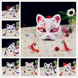 half face ball Australia - Japanese Anime Hand-Painted Half Face Fox Kitsune Mask Halloween Cosplay Ball Party Masks Dance COS Cat Masks