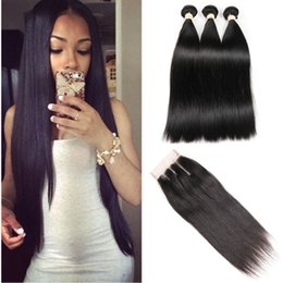 Hair India Australia - Raw India Human Hair With Lace Closure 3 Bundles Straight Hair with Top Lace Closure Malaysian Peruvian Brazilian Hair Weave Bundles