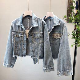 Rip Chains Australia - 2018 New Fashion Heavy Diamond Chain Water Drill Short-style Washing Jean Jacket Ladies Ripped Jean Denim Jackets Coat Femme