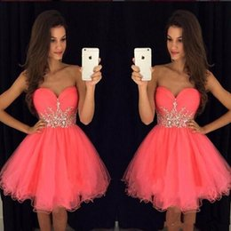 Wholesale Cheap Stylish Short Homecoming Dresses For Juniors Crystals Beaded Sash Ruffle Tulle A Line Sweetheart Sleeveless Mini Prom Party Gowns