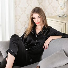 China Silk Pajamas for Woman Leisure Ma'am Home Furnishing Clothes Girl Casual Long Sleeved Sleepwear Womens Luxury Sexy Clothes supplier black sexy girls pajamas suppliers