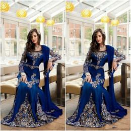 gold beaded sheath evening gown 2019 - 2019 Modest Royal Blue Luxury Crystal Muslim Arabic Evening Dresses With Applique Lace Abaya Dubai Kaftan Long Formal Pr