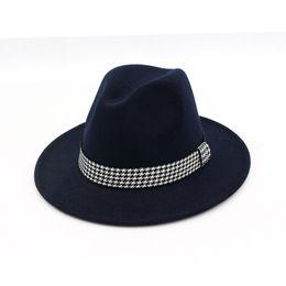 Brown jazz online shopping - Unisex Wool Felt Winter Hat Bucket Womens Bowler Jazz Fedora Hats Ribbon Decorated Flat Brim Panama Trilby Derby Gambler Titfer