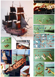 pirates pearl NZ - Caribbean Pirate Ship Black Pearl Paper Model Military Fans Gift Handmade DIY