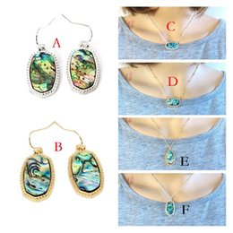 Necklaces Pendants Australia - Fashion Abalone Shell Necklace Earrings Silver Gold Plated Geometric Hexagon Pendant Necklace Kendra Scott Jewelry For Women