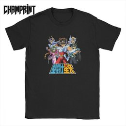 Toptan satış Erkekler Seiya T Gömlek Burç Seiya 90s Anime Saf Pamuk Kısa Kollu Tee Gömlek Yaz T-Shirt Şövalyeleri