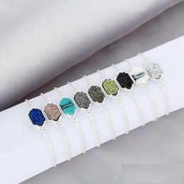 Rhombus Charms Australia - Hot New rhombus Drusy Druzy Charm Bracelets Druse Stone Gold Silver Adjustable Link Chain Wristband Women Jewelry Gift